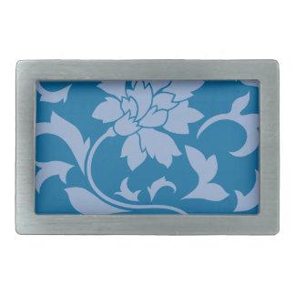 東洋の花-平静の青及びスノーケルの青 長方形ベルトバックル