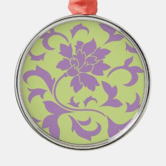 東洋の花-薄紫及びダイキリの緑 メタルオーナメント