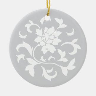 東洋の花-銀製の円パターン セラミックオーナメント