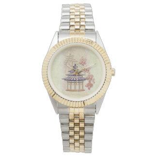 東洋塔のバラの混合メディア 腕時計