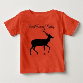 東海岸のベビーのクリスマスのシカのオレンジのワイシャツ ベビーTシャツ