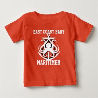 東海岸のベビーのMaritimerのいかりのタコのオレンジ ベビーTシャツ