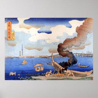 東都三ツ股の図、国芳、Sumidaの川、Kuniyoshi、Ukiyo-e ポスター