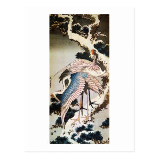 松に鶴、北斎は松の木、Hokusai、Ukiyo-eで伸ばします ポストカード