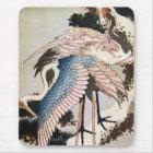 松に鶴、北斎は松の木、Hokusai、Ukiyo-eで伸ばします マウスパッド
