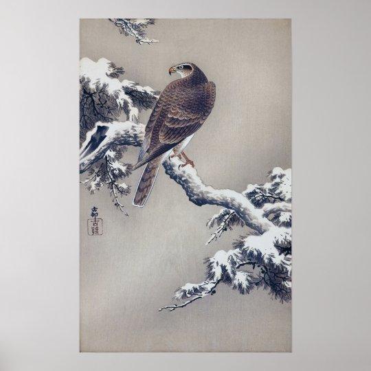 松に鷹、松の木、Ohara Kosonの木版画の古邨のタカ ポスター