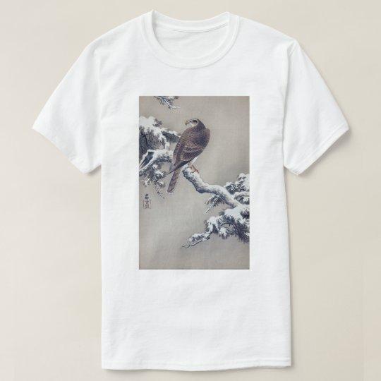 松に鷹、松の木、Ohara Kosonの木版画の古邨のタカ Tシャツ