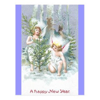 松の木およびシカとの2つの天使 ポストカード