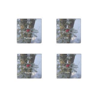 松の木のハート ストーンマグネット