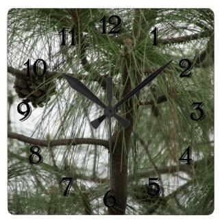松の木の時計 スクエア壁時計