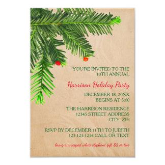 松の木の枝- 3x5クリスマスのパーティの招待状 カード