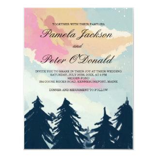 松の木の森林結婚式招待状 10.8 X 14 インビテーションカード