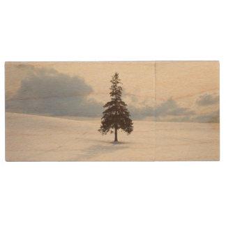 松の木、北海道 ウッドUSBフラッシュドライブ