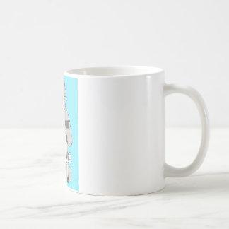 松葉ずえ、膝の外科回復の灰色猫 コーヒーマグカップ