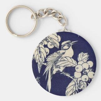 枇杷に鳥、広重の鳥およびビワ、Hiroshige、Ukiyo-e キーホルダー