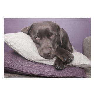 枕で眠いチョコレートラブラドル・レトリーバー犬犬 ランチョンマット