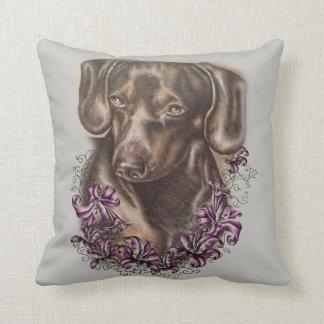 枕のブラウンのダックスフント犬の芸術のスケッチ クッション