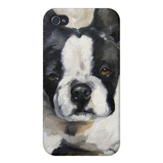 """""""枕時間""""ボストンテリア犬の恋人のギフト iPhone 4 ケース"""