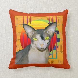 枕| Sphynx猫の忍者のオレンジ クッション