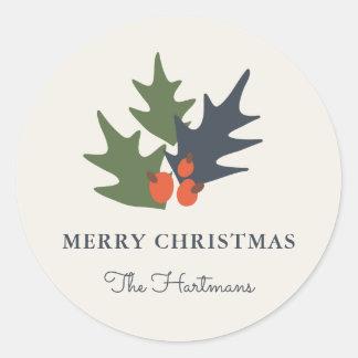 果実および葉の名前入りなクリスマスのステッカー ラウンドシール