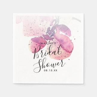 果実の水彩画の蘭のブライダルシャワーのナプキン スタンダードカクテルナプキン