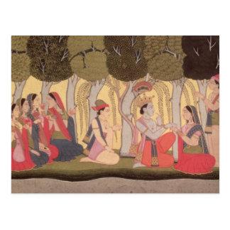 果樹園につくRadhaおよびKrishna Kulu ポストカード