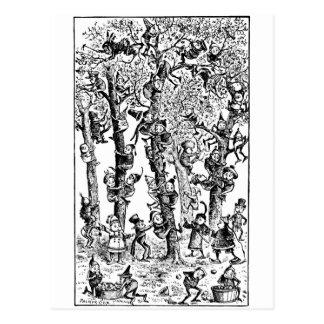 果樹園のりんごを選ぶブラウニー ポストカード