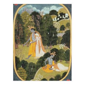 果樹園のRadhaおよびKrishnaの歩く ポストカード