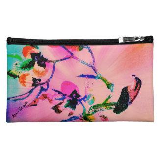 果樹(ピンク)の《鳥》ハヤブサ- Suededの化粧の場合 コスメティックバッグ