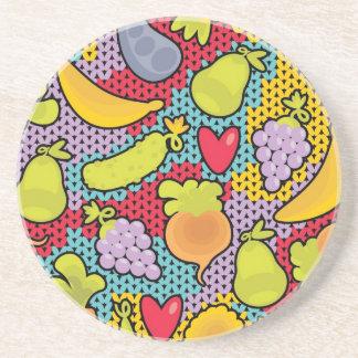 果物と野菜が付いているパターン コースター