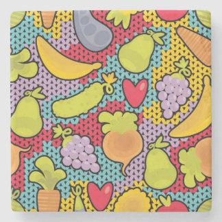 果物と野菜が付いているパターン ストーンコースター