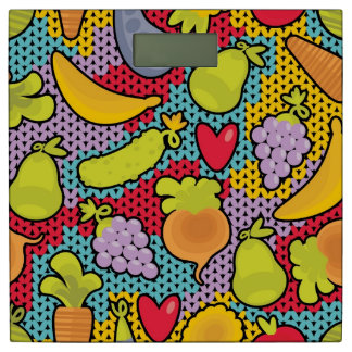 果物と野菜が付いているパターン 体重計
