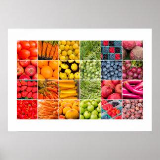 果物と野菜のコラージュポスター プリント