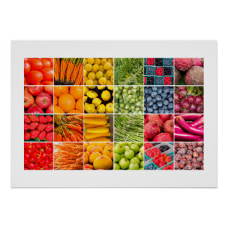 果物と野菜のコラージュポスター ポスター