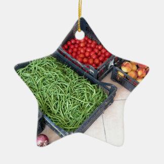 果物と野菜箱 セラミックオーナメント