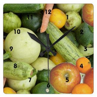 果物と野菜 スクエア壁時計