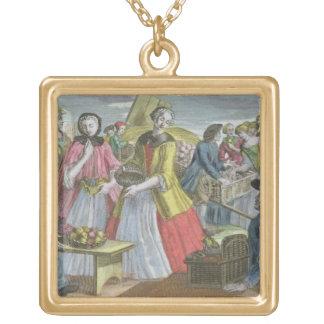 果物屋(着色された版木、銅版、版画) ゴールドプレートネックレス