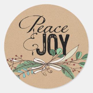 枝および果実の平和および喜びのステッカー ラウンドシール