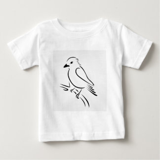 枝に坐っているかわいく抽象的なカワセミ ベビーTシャツ