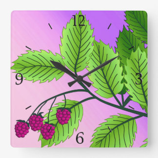 枝のラズベリー スクエア壁時計