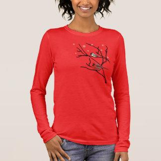 枝の女性Tシャツの(鳥)ショウジョウコウカンチョウ及び《鳥》アメリカゴガラ 長袖Tシャツ