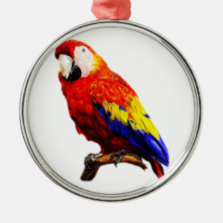 枝の深紅のコンゴウインコのオウム メタルオーナメント