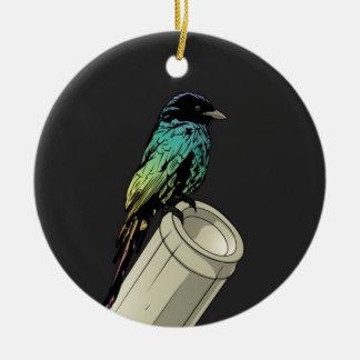 枝の漫画の多色のな鳥 セラミックオーナメント