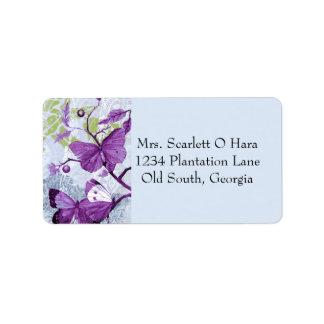 枝の紫色の蝶 ラベル