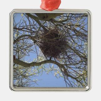 枝の鳥の巣 メタルオーナメント