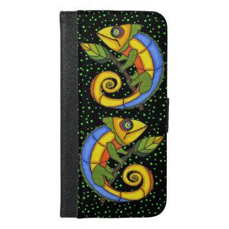 枝の2匹の明るく着色されたかわいいトカゲ iPhone 6/6S PLUS ウォレットケース