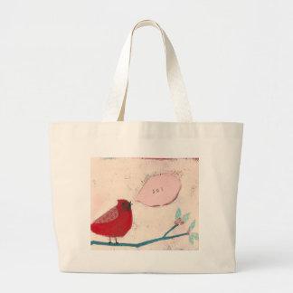 枝カードの鳥 ラージトートバッグ