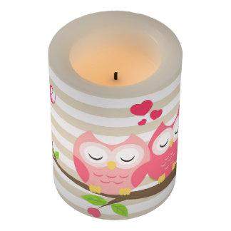 枝ハートの愛のかわいいフクロウは及び縞で飾ります LEDキャンドル