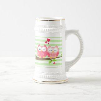 枝ミントの愛のかわいいフクロウは縞で飾ります ビールジョッキ