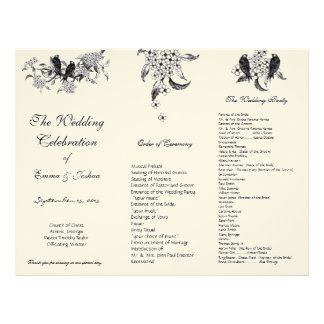 枝三重結婚式プログラムのヴィンテージの鳥 レターヘッド